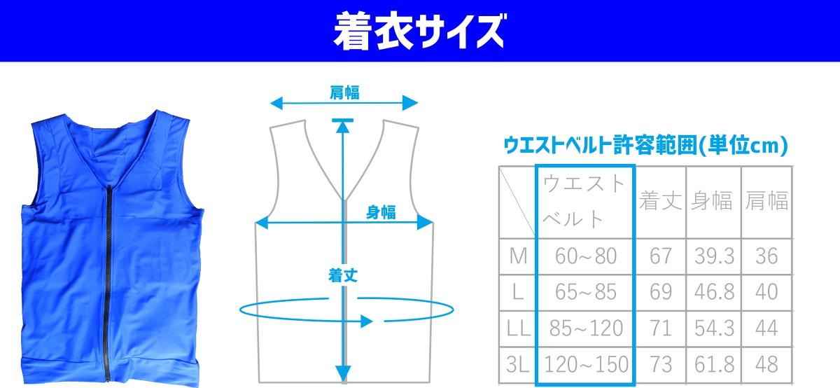 幅広い着衣サイズ