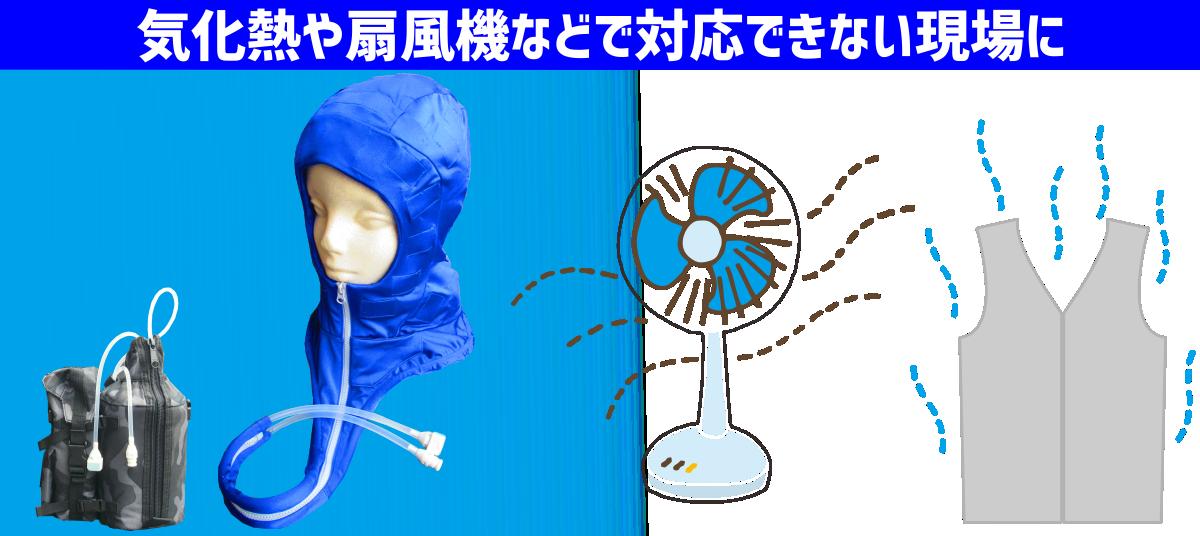 気化熱や扇風機などで対応できない現場に